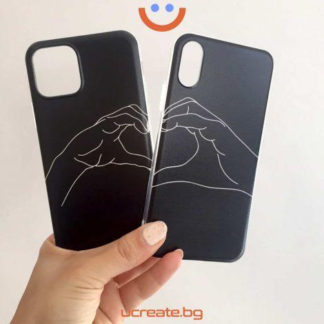 кейсове за двойки make a heart printed