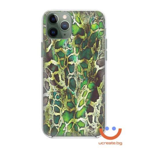 кейс със снимка кожа зелен питон animal skins