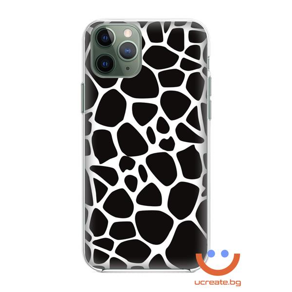 кейс със снимка кожа леопард черно и бяло