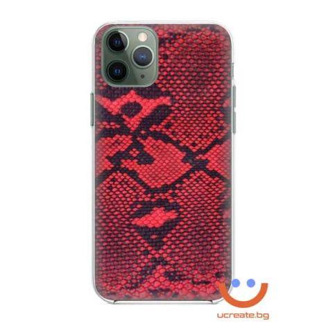кейс със снимка кожа червена боа