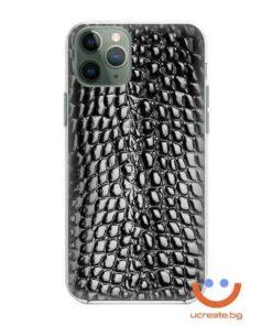 кейс със снимка кожа черен крокодил animal skins