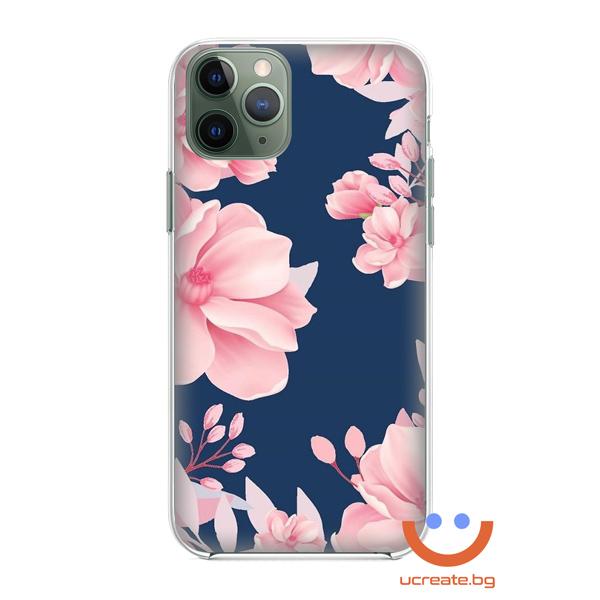 силиконов кейс big pink flowers калъф с цветя