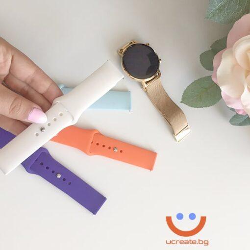 силиконова каишка за дамски смарт часовник huawei gt2 42mm бяла лилава