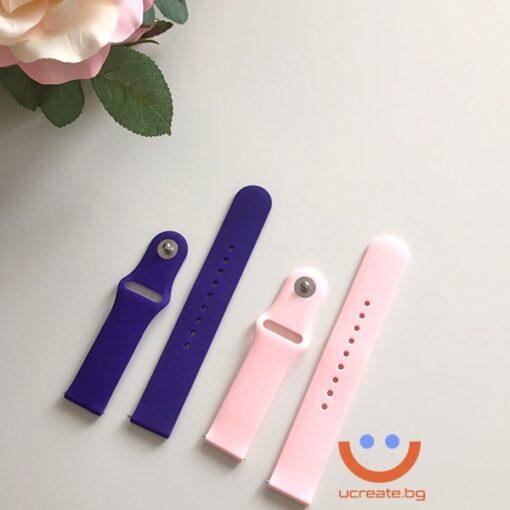 силиконова каишка за дамски смарт часовник huawei gt2 42mm лилава розова
