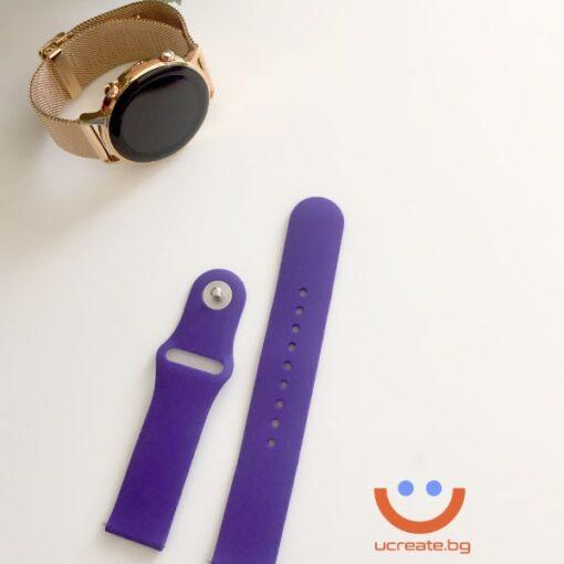 силиконова каишка за дамски смарт часовник huawei gt2 42mm лилава