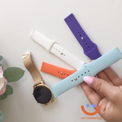 силиконова каишка за дамски смарт часовник huawei gt2 42mm мента watch
