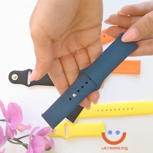 силиконова каишка за мъжки смарт часовник huawei gt2 46mm синя