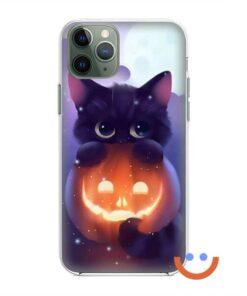 калъф за телефон за хeлоуин pimpkin and the cat